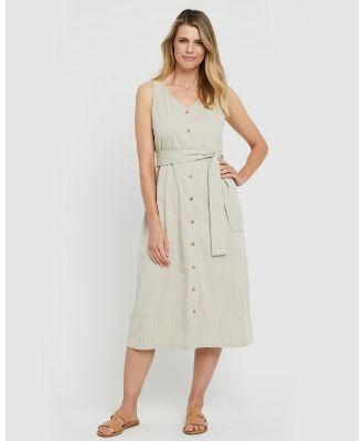 Bamboo Body - Button Front Dress - Dresses (Organic Pinstripe) Button Front Dress