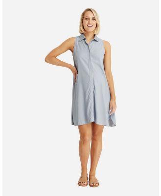 Bamboo Body - Vera Sleeveless Shirt Dress - Dresses (Chambray) Vera Sleeveless Shirt Dress