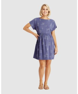 Bamboo Body - Woven Smock Dress - Dresses (Grid Print) Woven Smock Dress
