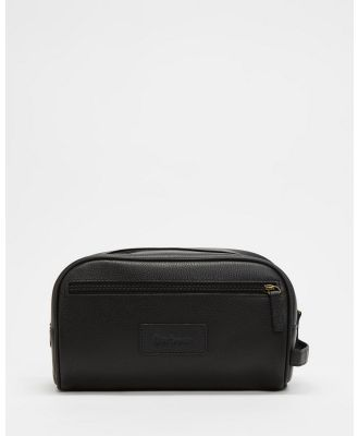 Barbour - Leather Wash Bag - Travel and Luggage (Black) Leather Wash Bag