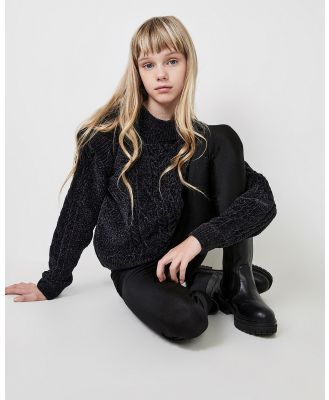 Bardot Junior - Emilie Cable Knit Sweater   Teens - Jumpers & Cardigans (Navy) Emilie Cable Knit Sweater - Teens
