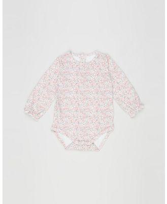 Bebe by Minihaha - Tia Lace Trim Bodysuit   Babies - Longsleeve Rompers (Tia Print) Tia Lace Trim Bodysuit - Babies