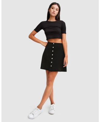 Belle & Bloom - Into The Woods Leather Mini Skirt - Skirts (Black) Into The Woods Leather Mini Skirt