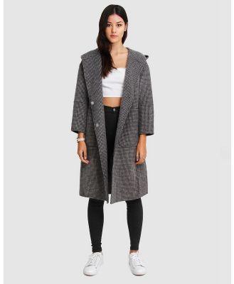 Belle & Bloom - Walk This Way Wool Blend Hooded Coat - Coats & Jackets (Black/White) Walk This Way Wool Blend Hooded Coat