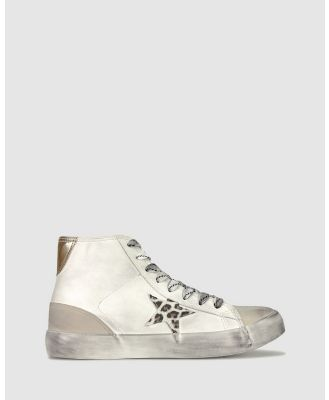 Betts - Flipped High Top Sneakers - Lifestyle Sneakers (White/Leopard) Flipped High Top Sneakers