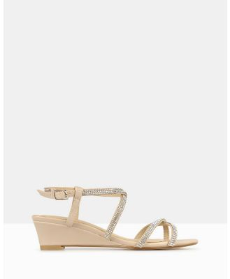 Betts - Heart Bling Strap Low Wedges - Wedges (Nude) Heart Bling Strap Low Wedges