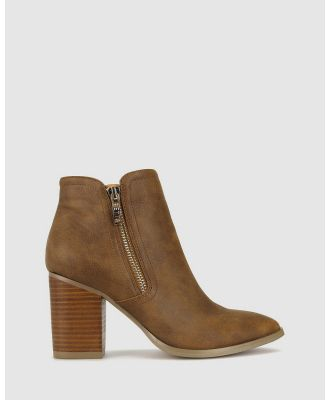 Betts - Layla Block Heeled Boots - Heels (Tan) Layla Block Heeled Boots