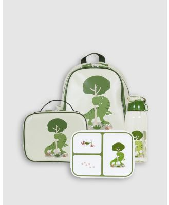 Bobbleart - Large Backpack Lunch Bag Bento Box and Drink Bottle T Rex - Backpacks (Light Green) Large Backpack Lunch Bag Bento Box and Drink Bottle T-Rex
