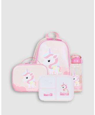 Bobbleart - Large Backpack Lunch Bag Bento Box and Drink Bottle Unicorn - Backpacks (Light Pink) Large Backpack Lunch Bag Bento Box and Drink Bottle Unicorn