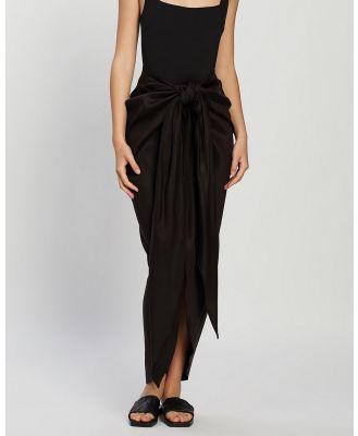 BONDI BORN - Tie Front Draped Skirt - Skirts (Black) Tie Front Draped Skirt