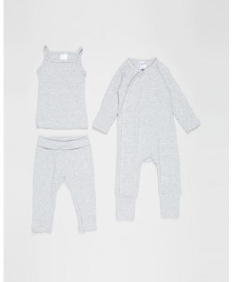 Bonds Baby - The Essentials Pack   Babies - Longsleeve Rompers (New Grey Marle) The Essentials Pack - Babies