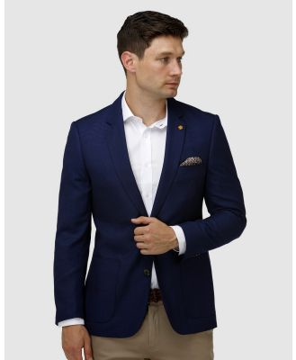 Brooksfield - Modern Textured Plain Blazer - Suits & Blazers (Navy) Modern Textured Plain Blazer