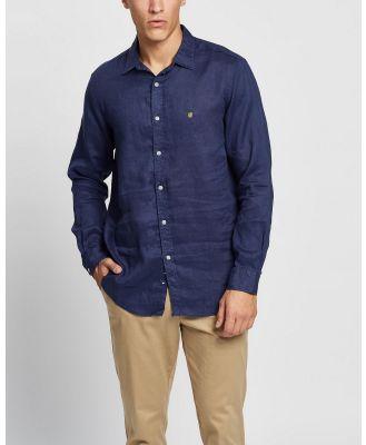 Buba & La - Pure Linen Long Sleeve Shirt - Casual shirts (Navy Blue) Pure Linen Long Sleeve Shirt