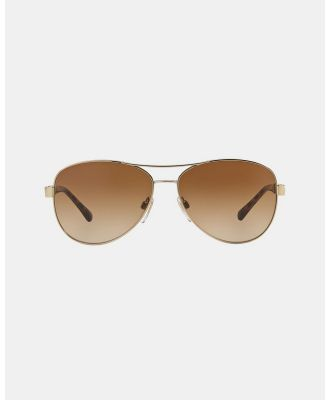 Burberry - Burberry Heritage   Gold Canvas Check - Sunglasses (Gold & Brown Gradient) Burberry Heritage - Gold Canvas Check