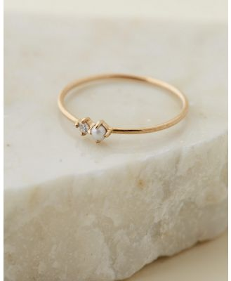 By Charlotte - 14k Gold Light of the Moon Ring - Jewellery (14k Solid Gold, Fresh Water Pearl, Diamond) 14k Gold Light of the Moon Ring