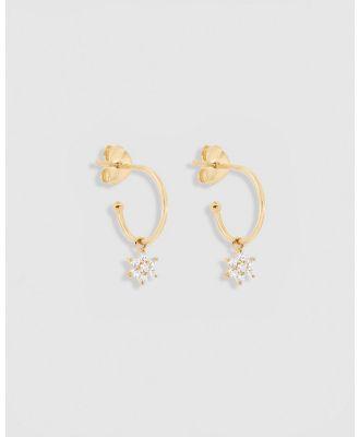 By Charlotte - Lotus Flower 14k Gold Hoop Earrings - Jewellery (14k Solid Gold & CZ Crystals) Lotus Flower 14k Gold Hoop Earrings