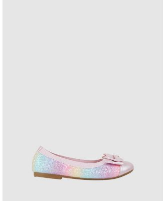 Candy - Charm Double Bow Ballet Flats - Flats (Rainbow Glitter) Charm Double Bow Ballet Flats