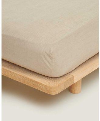Carlotta + Gee - 100% Linen Fitted Sheet - Home (Natural) 100% Linen Fitted Sheet