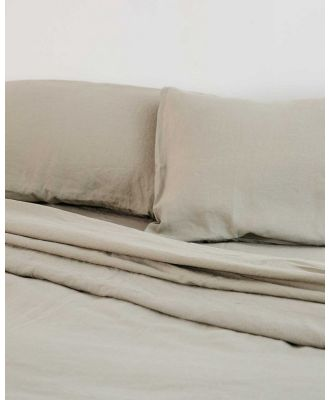Carlotta + Gee - 100% Linen Flat Sheet - Home (Green) 100% Linen Flat Sheet