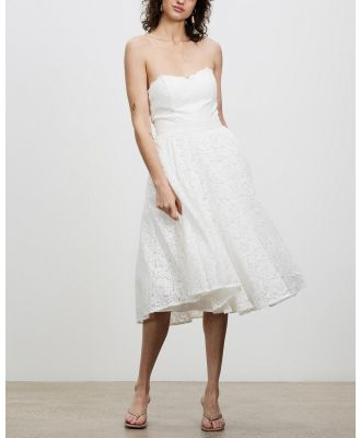 Chi Chi London - Bridal Strapless Lace Midi Dress - Bridesmaid Dresses (White) Bridal Strapless Lace Midi Dress