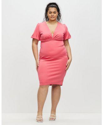 Chi Chi London - Plus Size Plunge Puff Sleeve Bodycon Dress - Bodycon Dresses (Fuschia) Plus Size Plunge Puff Sleeve Bodycon Dress