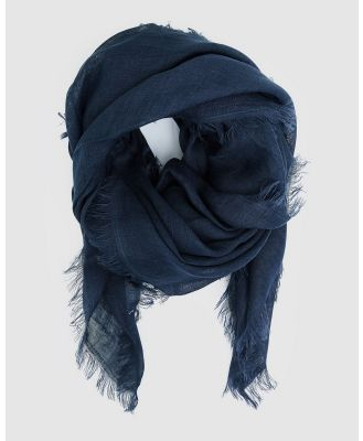 Cloth & Co. - Hand Loomed Linen Scarf - Scarves & Gloves (French Navy) Hand Loomed Linen Scarf