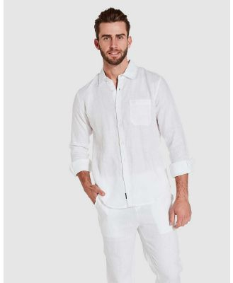 Coast Clothing - Long Sleeve Linen Shirt - Casual shirts (White) Long Sleeve Linen Shirt