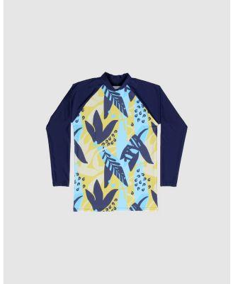 Conscious Swim - Long Sleeve Wilugaju Print Rashie   Boys - Rash Suits (Navy) Long Sleeve Wilugaju Print Rashie - Boys