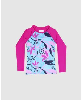 Conscious Swim - Long Sleeve Wilugaju Print Rashie   Girls - Rash Suits (Magenta) Long Sleeve Wilugaju Print Rashie - Girls