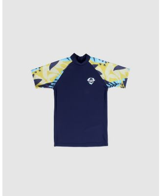 Conscious Swim - Short Sleeve Logo Rashie   Boys - Rash Suits (Navy) Short Sleeve Logo Rashie - Boys