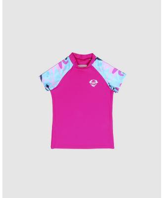Conscious Swim - Short Sleeve Logo Rashie   Girls - Rash Suits (Magenta) Short Sleeve Logo Rashie - Girls
