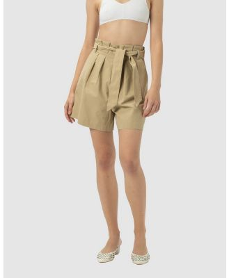 Cools Club - High Rise Pleat Shorts - High-Waisted (Beige) High Rise Pleat Shorts