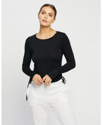 Cotton On Body - Sleep Recovery Side Tie Long Sleeve Top - Sleepwear (Black) Sleep Recovery Side Tie Long Sleeve Top