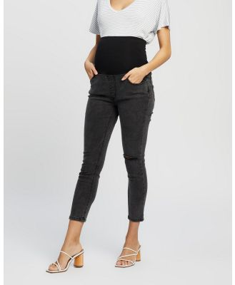Cotton On Maternity - Maternity Over Belly Cropped Skinny Jeans   The Iconic Exclusive - Crop (Washed Black Rip) Maternity Over Belly Cropped Skinny Jeans - The Iconic Exclusive