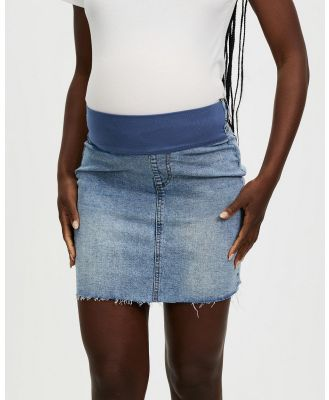Cotton On Maternity - Maternity Under Belly Stretch Denim Skirt   The Iconic Exclusive - Denim skirts (Cabarita Blue) Maternity Under Belly Stretch Denim Skirt - The Iconic Exclusive