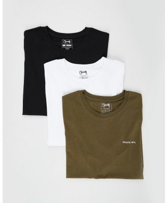 Crate - 3 Pack Stamp T Shirt - T-Shirts & Singlets (Khaki, Black & White) 3-Pack Stamp T-Shirt