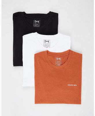 Crate - 3 Pack Stamp T Shirt - T-Shirts & Singlets (Rust, Black & White) 3-Pack Stamp T-Shirt