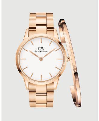 Daniel Wellington - Iconic Link 40mm + Bracelet L Gift Set - Watches (Rose gold) Iconic Link 40mm + Bracelet L Gift Set