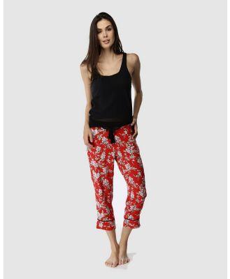 Deshabille Sleepwear  - Blossom Cropped Pants & Tank Set - All gift sets (Red & Black) Blossom Cropped Pants & Tank Set