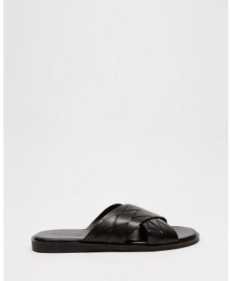 Double Oak Mills - Stairmand Leather Slides - Sandals (Black) Stairmand Leather Slides