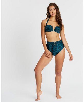 Duskii - Océane Belted High Waist Bottoms - Bikini Bottoms (Leopard Teal) Océane Belted High Waist Bottoms