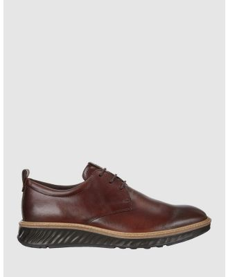 ECCO - ECCO ST.1 Hybrid Derby Shoes - Dress Shoes (Brown) ECCO ST.1 Hybrid Derby Shoes