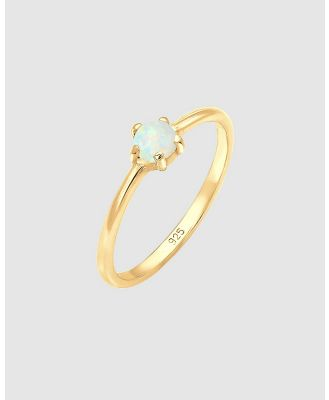 Elli Jewelry - Ring Basic Geo Opal 925 Silver Gold Plated - Jewellery (Gold) Ring Basic Geo Opal 925 Silver Gold Plated