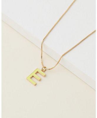 Emma Pills - Letter E Enamel Initial Necklace - Jewellery (Yellow) Letter E Enamel Initial Necklace