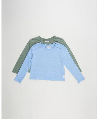 Eve Girl - Exposed Long Sleeve Tee 2 Pack   Teens - T-Shirts & Singlets (Khaki & Blue) Exposed Long Sleeve Tee 2-Pack - Teens