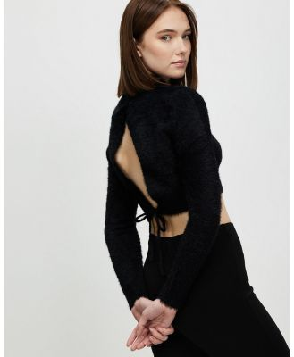 Factorie - Fluffy Knit Tie Back Top - Cropped tops (Black) Fluffy Knit Tie Back Top