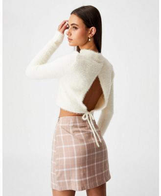Factorie - Fluffy Knit Tie Back Top - Tops (Ivory) Fluffy Knit Tie Back Top