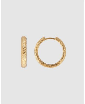 FAIRLEY - Antique Gold Maxi Hoops - Jewellery (Gold) Antique Gold Maxi Hoops