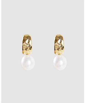 FAIRLEY - Pearl Beaten Dolce Hoops - Jewellery (Gold) Pearl Beaten Dolce Hoops