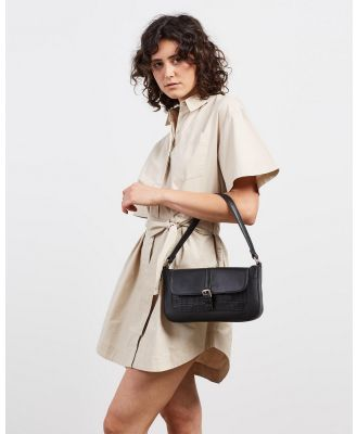 Fall The Label - Baguette Shoulder Bag with Buckle - Handbags (Black Croc) Baguette Shoulder Bag with Buckle